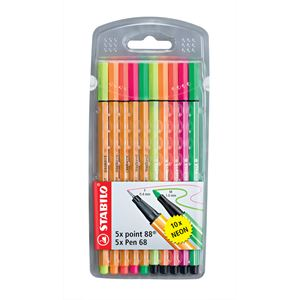 Stabilo Point 88-Pen 68 Neon 10 Renk 8868-10-1